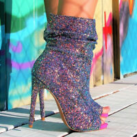 FASHION Women Ankle Boots Bling Glitter Peep Toe Stiletto Heel Party Prom Shoes