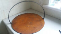 Vintage  Gypsy Swinging, Griddle Plate/ Skillet Cast Iron Open Fire  18 inch