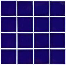 10 SF 3x3 Glossy Cobalt Blue Tile for Countertop Backsplash Pool Sink Bathroom
