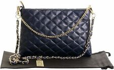 Italian Leather Hand Made Slim Chain Strapped Quilted Shoulder Bag Handbag