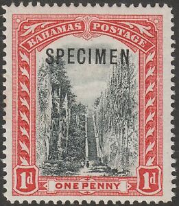Bahamas 1901 KEVII Queen's Staircase wmk CC 1d Black + Red SPECIMEN Opt SG58s
