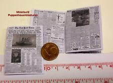 """2006# Zeitung N.Y. Times 1912 """"Titanic"""" - Puppenhaus - Puppenstube  - M1zu12"""