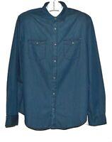 Calvin Klein Jeans Men's  Blue Denim Cotton Shirt Size L NEW