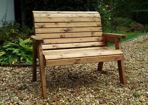Home Gift Garden 2 Seat Solid Wood Outdoor Bench with Cushions and Cover