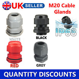 M20 20MM IP68 WHITE BLACK GREY RED WATERPROOF COMPRESSION CABLE GLAND NUT WASHER