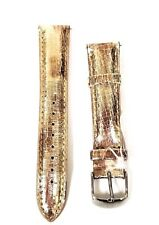 NEW MICHELE 18MM METALLIC GOLD+ROSE WATCH STRAP,BAND+SILVER BUCKLE MS18AA430750