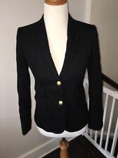 JCREW Size 0 Black Wool Schoolboy Blazer Jacket Excellent Condition