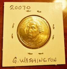 Uncirculated 2007-D GEORGE WASHINGTON Presidential Golden  Dollar Coin, IN FLIP