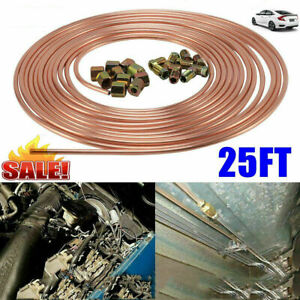 "25ft Roll 3/16"" Copper Steel Nickel Kunifer Brake Line Pipe Metric 20pcs Fitting"
