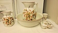 5-pc Pitcher/Wash Basin Bowl Set-Wildflower Floral-Water Pitcher,Soap dish,Glass