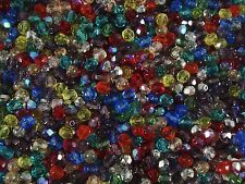 Czech Fire Polished 6mm Faceted Glass Beads 75pc Mix Jewellery FREE POSTAGE