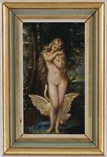More details for leda and the swan antique miniature oil painting 19th century european school
