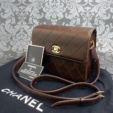 Rise-on Vintage CHANEL Matelasse Brown Leather Shoulder bag Handbag #1714