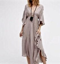 NWT Free People Endless Summer taupy gray Asymmetrical Swing Easy Maxi Dress M