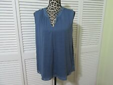 Max Jean Top, blouse, Women XS, NWT, China Blue,pewter grommets on neckline,hem
