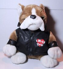 "Dan Dee Biker Motorcycle Bulldog Dog ""I Wuff You"" Black Vest Wrist Guard Plush"