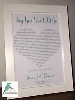 First Dance Personalised song lyrics print - any song! Wedding