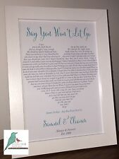 Personalised Song Lyrics Heart print Our Song First dance Wedding Anniversary