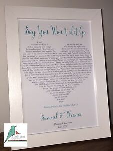 Personalised Song Lyrics print Our Song First dance Wedding Anniversary