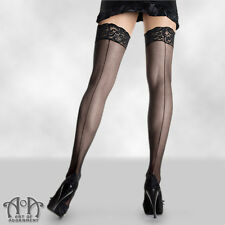 Retro Black Sheer LACE TOP BACK SEAM THIGH HIGHS High Tights Burlesque Seamed