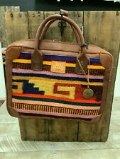 Will Leather Goods Geometric Multicolor Aztec Stripe Oaxacan Briefcase  NWT
