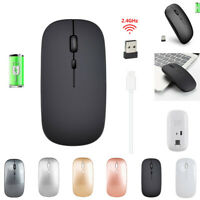 2.4GHz Rechargeable Wireless Mouse Silent Ultra Thin USB Mice for Laptop PC~
