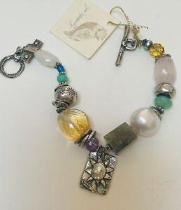 Jes MaHarry bracelet  *Sundance artist* sterling silver/ gemstone bracelet