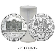 Special Price! Roll of 20 - 2016 Austria 1 oz Silver Philharmonic .999 Fine