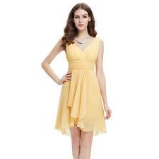 Chiffon Asymmetrical Hem Formal Solid Dresses for Women