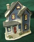 HO Scale porcelain lighted building 2 story blue house
