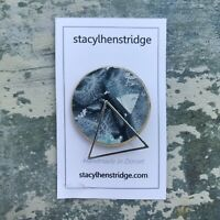 Handmade Geometric Silver Triangle Wooden Badge Pin Thread Gelli Print Original