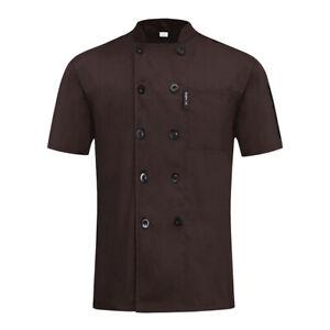 Chef Coat Cook Jacket Kitchen Uniform Cafe Restaurant Workwear Short Sleeved Top