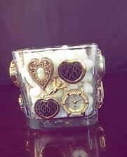 Gorgeous Glass Heart Watch Hand-Made Bejeweled Box One of a Kind