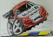 Cartoon Craig Lowndes Holden HRT No 15 A3 Poster Print Picture Image