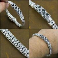 tribal woven floral art 925 sterling silver ag authentic genuine mens bracelet