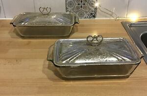 Vintage Pyrex Oven Serving dish with Mayell Silver Plated Lids X 2