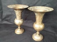 "Vintage Pair Of 8"" TAll Brass Leaf & Flower Vases-Made in India-Great Shape"