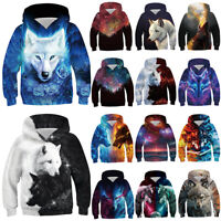 Kid Boys Girls Wolf Galaxy 3D Print Hoodies Sweatshirt Pullover Jumper Jacket