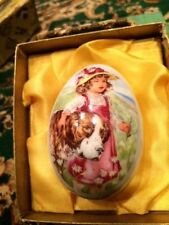 1977 Royal Bayreuth Germany Easter Egg Victorian Girl with St Bernard Dog in box