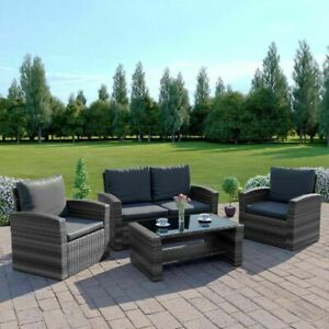 Rattan Garden Sofa Furniture Set Patio 4 Seater Armchairs Table