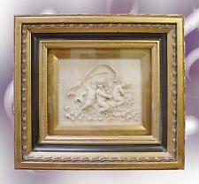Wandbild Engelfigur Wandapplik Barock Bild Amor Relief Goldrahmung Antikbild