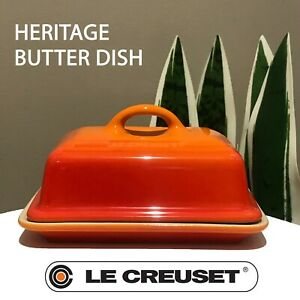 New - Le Creuset - Heritage Butter Dish Flame Orange Shiny Finish 5 x 3 1/2 IN