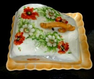 ANTIQUE VICTORIAN CHEESE / BUTTER DISH FLORAL DESIGN POTTERY CERAMIC 7 X 6 Inch