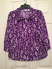 Zenergy by Chico's Ikat Print Full Zip Stretch Cinch Jacket Purple 2 Large 12