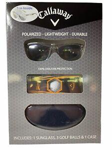 Callaway Gift Set Polarized Sunglasses + 3 Golf Balls + Case - New