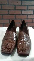"""Womens 7.5 M Franco Sarto Brown Leather Slip On Shoes Loafers 2"""" Heels"""