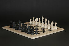 "12"" Chess Set Botticino Stone & Black Marble Hand Made in Velvet/ Suede Gift Box"