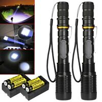 2x Police 150000Lumen Tactical T6 LED Flashlight Torch +18650 Battery+Charger