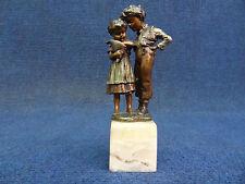 Vienna Bronze Two Children with Candy bag Marked Geschutzt Antiques Vienna Bronz