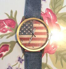 Cadeau Gratuit Sac synthétique bleu denim Bracelet Femmes Hommes USA Amérique drapeau watch fashion